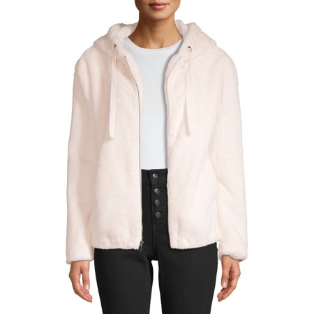 Kendall + Kylie Women's Faux-Fur Zip-Up Hooded Jacket