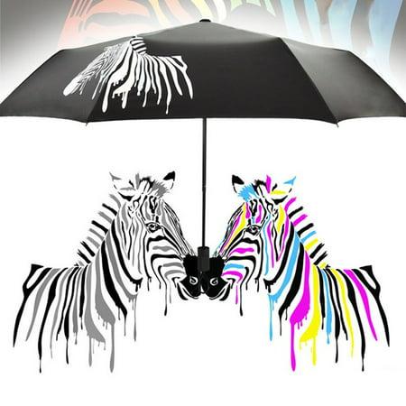 snorda Color Changing Folding Umbrella Sunshade Zebra Parasol Rain Shade Anti-UV Anti Uv Sun Umbrella
