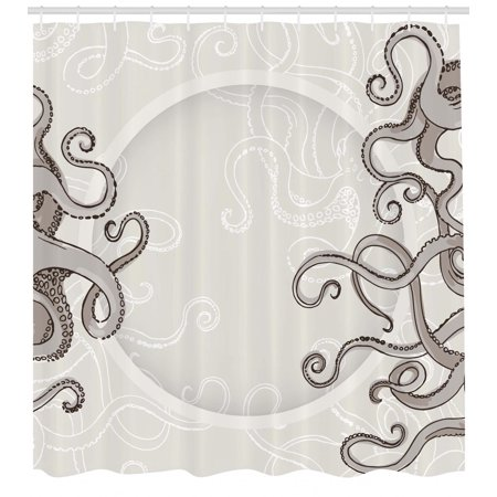 Kraken Shower Curtain Fish Octopus Tentacles With A Circular Shape Surreal Universe Treasure Beast Graphic Fabric Bathroom Set Hooks Dust Taupe