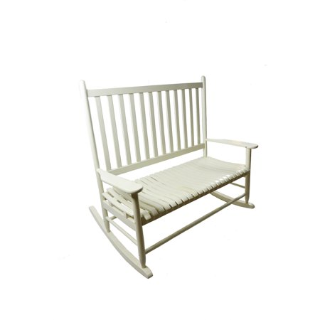 Mainstays Outdoor Wood Loveseat Rocker, White - Best Patio Chairs ...