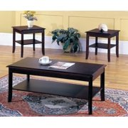 Vania 3 Piece Coffee Table Set, Dark Cherry Wood With Storage Shelves, Contemporary (Cocktail Coffee & 2 End Tables)