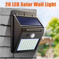 AUGIENB 20 LED 350LM Super Bright Solar Wall Light Waterproof Outdoor Motion Sensor Security Lights Wireless Garden Lamp For Yard Driveway Wall Porch
