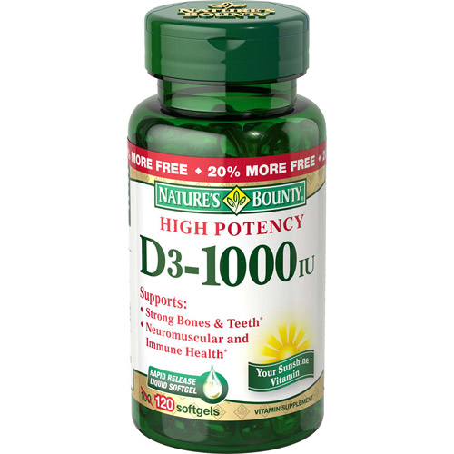 Nature's Bounty High Potency D3-1000 IU Vitamin Supplement Softgels, 120 count
