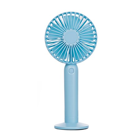 Swiss Crafts Portable Mini Fan, USB Rechargeable Battery Powered Handheld Fan with Base, 3 Step Speed, 5 Blades High Compatibility Mini Fan(1 SET, Light Blue)