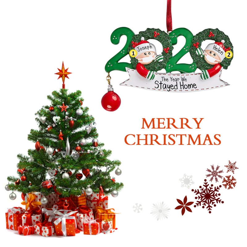 ANATYU DIY Personalized Name Christmas Ornament kit 2020 Family Customized Christmas Decorating Kit Creative Gift for Family A-Family of 2