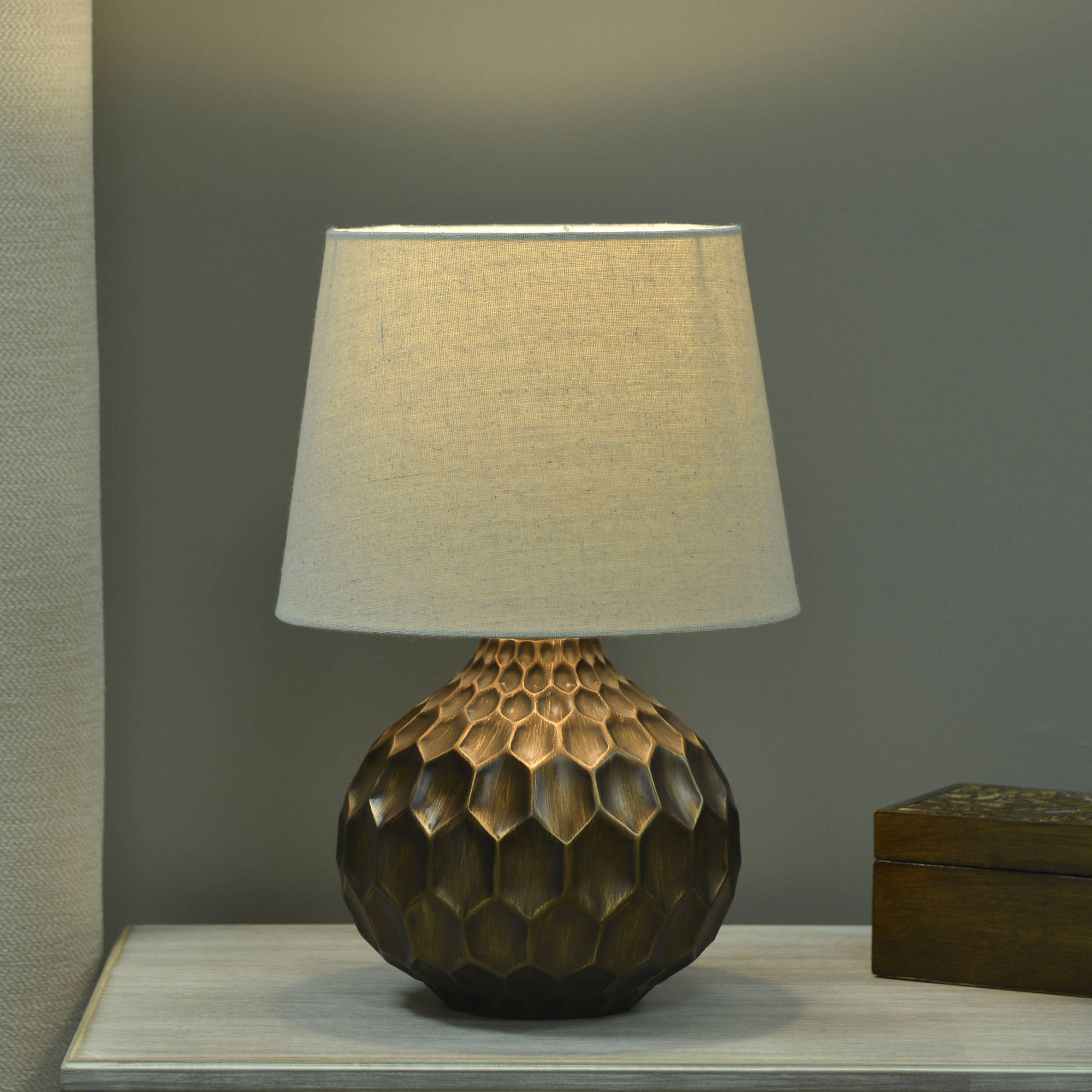 Better Homes and Gardens Faceted Table Lamp with Linen Shade ...