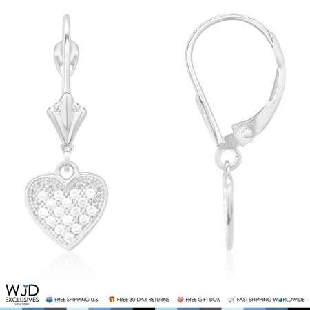 14K White Gold 1.50Ct Created Diamond Pave Heart Dangle Leverback Earrings 1