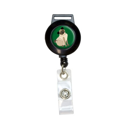 Pug Green - Dog Pet Retractable Badge Card ID Holder (Dog Card Holder)