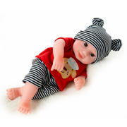 (With Clothes) 10'' Lovely Reborn Babies Doll Girl Boy Silicone Vinyl Handmade Lifelike Simulation Baby Doll