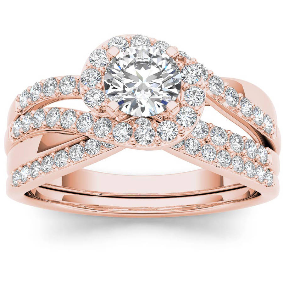 Imperial 1 Carat T.W. Diamond Bypass Halo 14kt Rose Gold Engagement Ring Set by Imperial Jewels