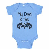 "Cute Super Hero Baseball Bodysuit Raglan ""My Dad Is The Batman"" Funny Newborn Shirt Gift - Baby Tee, 3-6 months, Blue Solid Short Sleeve"