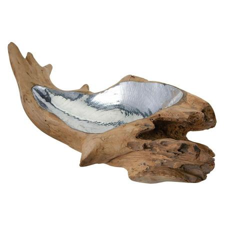 Dimond Home Teak Root Decorative Bowl with Aluminum Insert