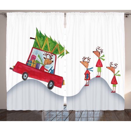 christmas curtains 2 panels set reindeer family father in retro red car and big tree
