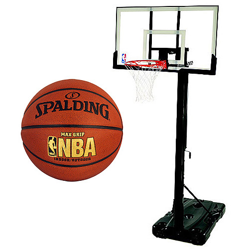 "Spalding 54"" Portable Backboard System with NBA Max Grip Basketball Bundle"