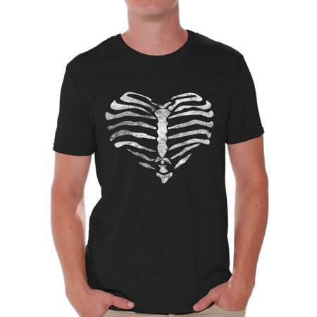 Male Sugar Skull (Awkward Styles Heart Ribcage T-shirt Tops skull shirts womens mens skull shirts day of dead costume t shirt dia de Los Muertos costume t shirt sugar skull candy skull costume)