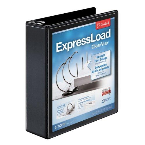 "Cardinal Expressload Clearvue Locking D-ring Binder - Letter - 8.50"" X 11"" - D-ring Fastener - Poly - Black - 1 Each (CRD49121)"