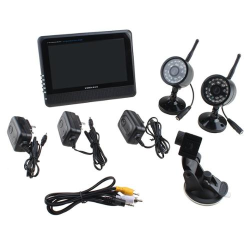 "AGPtek Home Security System 4CH Digital Wireless Camera & DVR System with 7"" TFT-LCD Monitor"