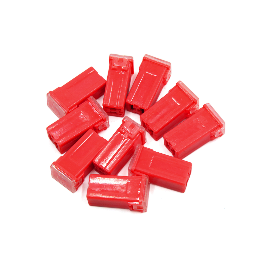 10Pcs 50A 32V Red Plastic Mini Push-in Type Female PAL Cartridge Fuses for Car - image 3 de 3