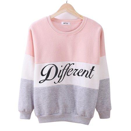 Women Hoodies Sweatshirts Fleece Patchwork Letter Printed Hoodies O Neck Long Sleeve Pullover Tops Sweatshirts for Women](Pikachu Hoodie For Sale)