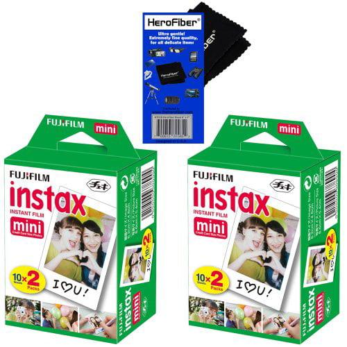 Fujifilm Instax Mini Twin Pack Instant Film - 2 pack (40 sheets) for Fujifilm Instax Mini 7s, Mini 8, Mini 9, Mini 25, Mini 50S, Mini 90, SP-1 & SP-2 Smartphone Printer + HeroFiber Cleaning Cloth