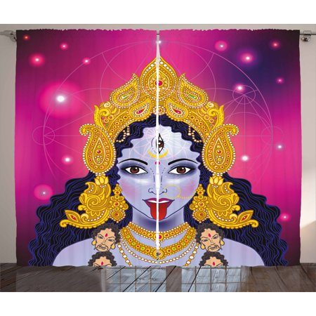 Spiritual Portrait (India Curtains 2 Panels Set, Indian Spiritual Sacred Holy Design Goddess Portrait Religion Vitality Ceremonial, Window Drapes for Living Room Bedroom, 108W X 90L Inches, Multicolor, by Ambesonne)