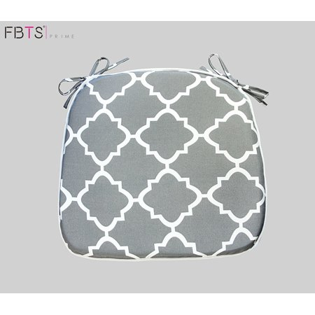 (Chair Cushion 16 by 17 Inches Indoor Outdoor Seat Pad Square (Pack of 2, Grey, Quatrefoil Lattice) Mat Cover Protector for Garden Patio Home Kitchen Office by FBTS Prime)