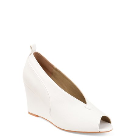 White Faux Leather Wedge (Womens Faux Leather Peep-toe Deep V-cut Wedges)