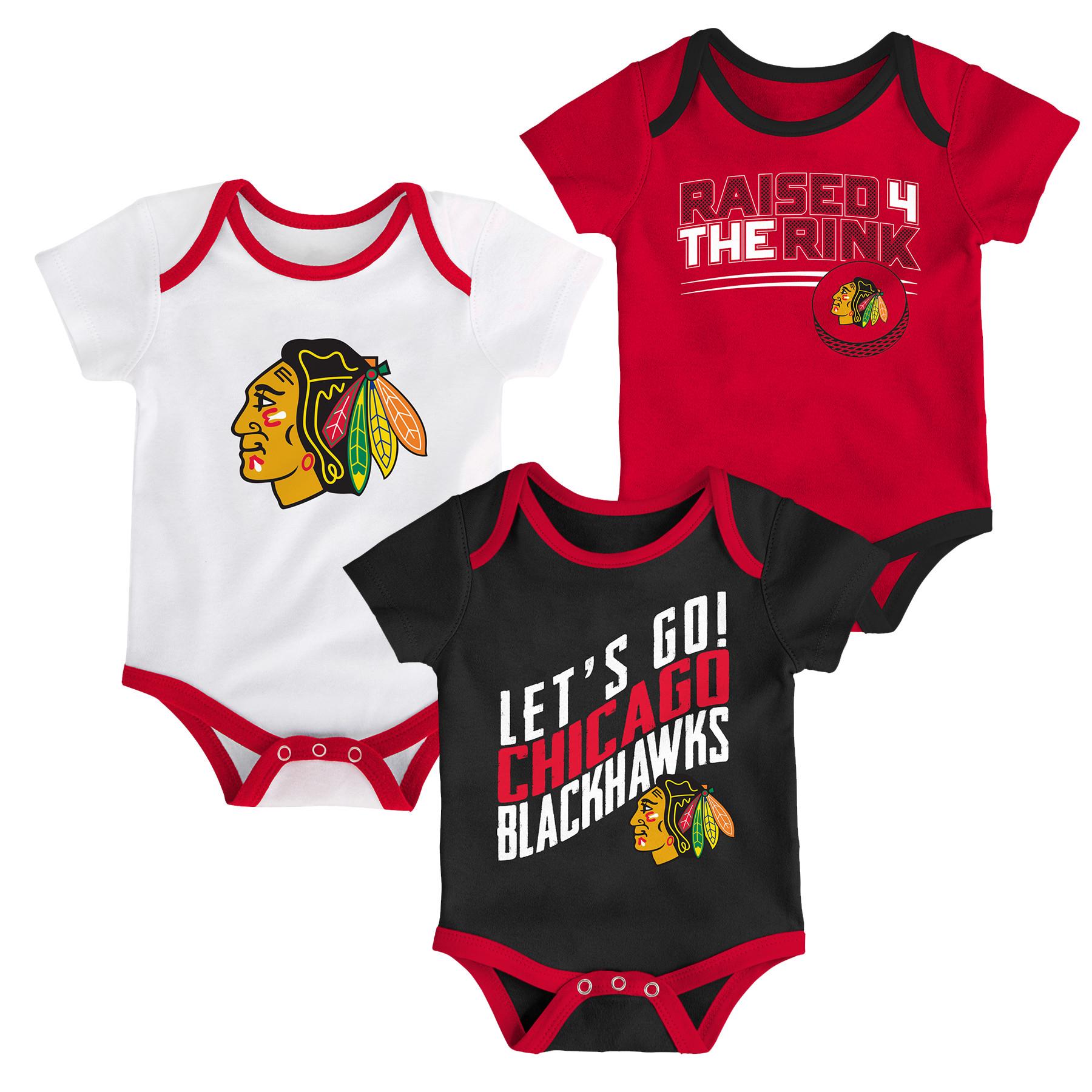Chicago Blackhawks Newborn & Infant Power Play 3-Pack Bodysuit Set -  Red/White/Black