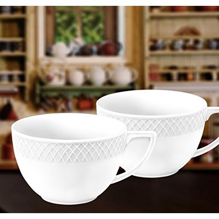 Jumbo Coffee - Wilmax WL-880109, 17 oz. Julia Collection White Porcelain Jumbo Mugs, Classic European Bone China Hot Drinks Coffee Tea Mug/Cup, Gift Box Set of 2