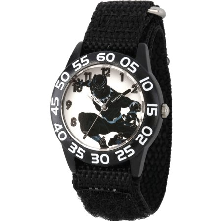 Black Panther & Avengers Boys' Black Plastic Time Teacher Watch, Black Hook and Loop Nylon Strap (Kids Avengers Watch)
