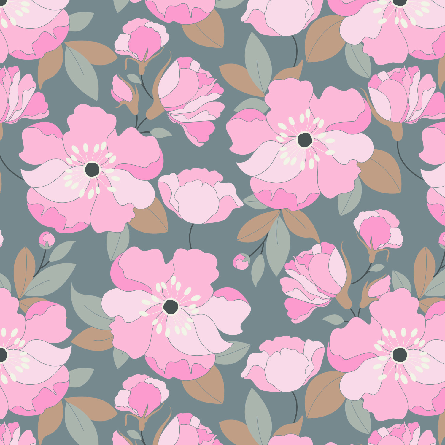 Emma & Mila Cotton Petals Grey With Love Collection Fabric, per Yard