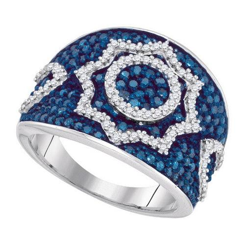 1.00Ctw Blue Diamond Micro-Pave Womens Fixed Ring Size - 7