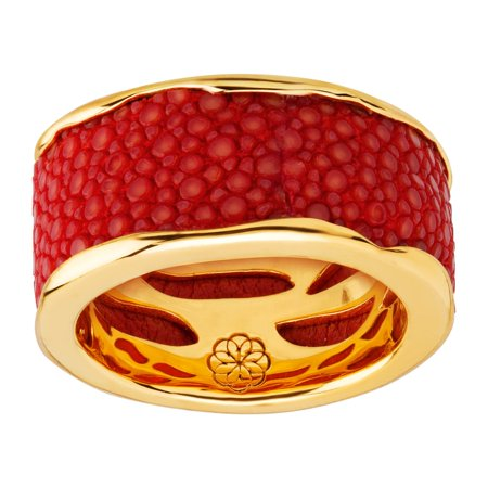 Cristina Sabatini Wave Ring with Genuine Red Stingray Leather in 18kt Gold-Plated Sterling Silver