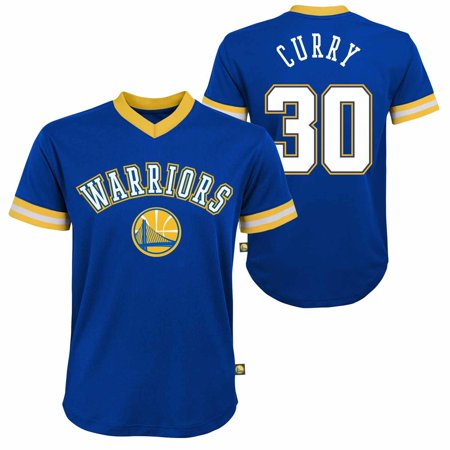 - Golden State Warriors Youth Steph Curry NBA Fashion V-Neck Jersey Top - Blue
