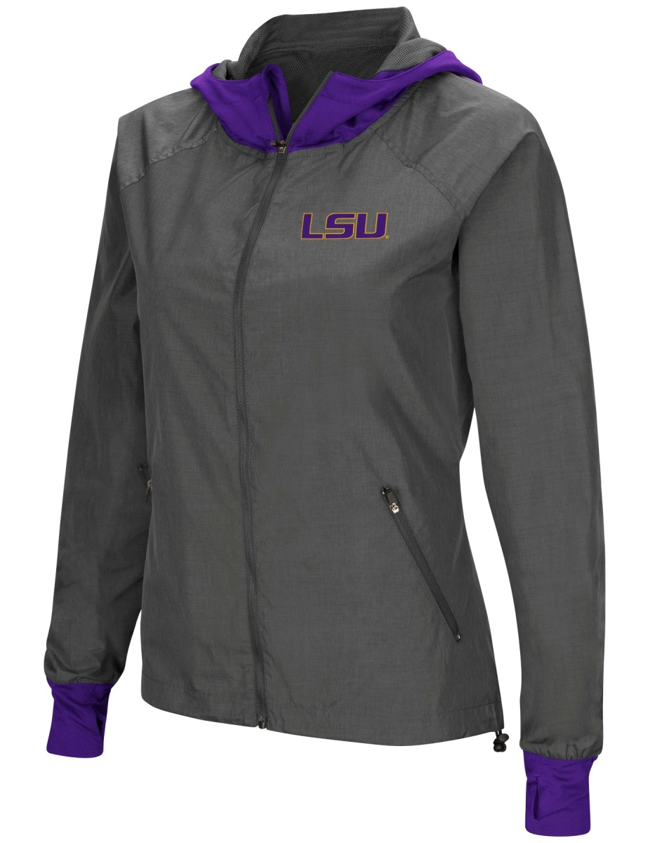 "LSU Tigers NCAA Women's ""Backside"" Full Zip Hooded Charcoal Jacket by Colosseum"