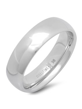 Ladies Classical 6 Mm.  Wedding Band Ring, Silver, Size -9