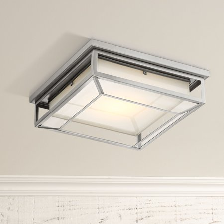 Possini Euro Design Modern Outdoor Ceiling Light Fixture Led Matte Nickel 12 Frosted Bonded Gl Damp Rated For Exterior House