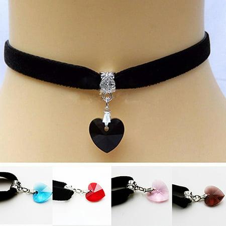 Girl12Queen Retro Gothic Handmade Shiny Love Heart Rhinestone Pendant Choker Short Necklace