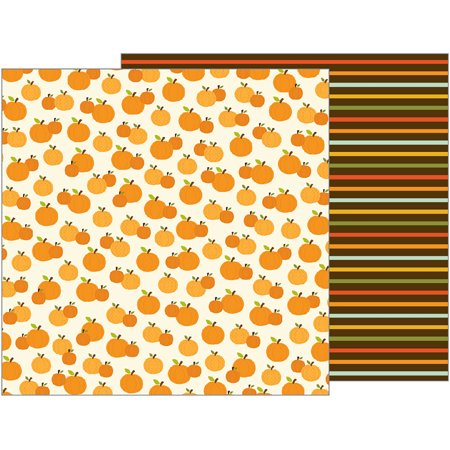 American Craft Pebbles Woodland Forest Collection 12 X 12 Double Sided Paper Pumpk Patch