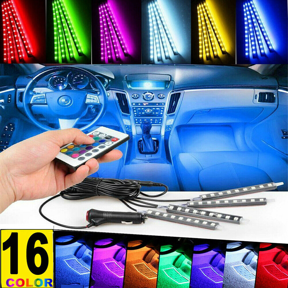 2 In 1 Green 9LED Car Interior Footwell Floor Atmosphere Neon Lights