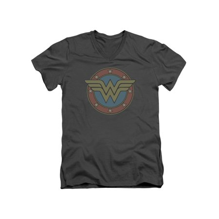 DC Comics Wonder Woman Muted Classic Logo Adult V-Neck T-Shirt Tee