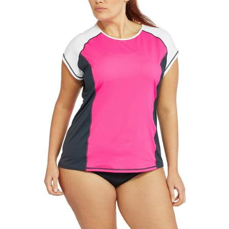 d1003bfe14 Free Tech - Women s Plus-Size Colorblock Rashguard Swim Cover-Up - Walmart. com