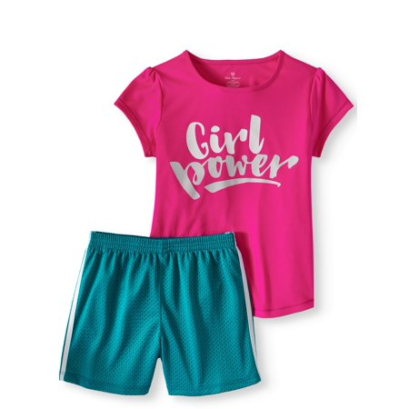 (Girls' Graphic T-Shirt and Colorblock Mesh Shorts 2-Piece Active Set)
