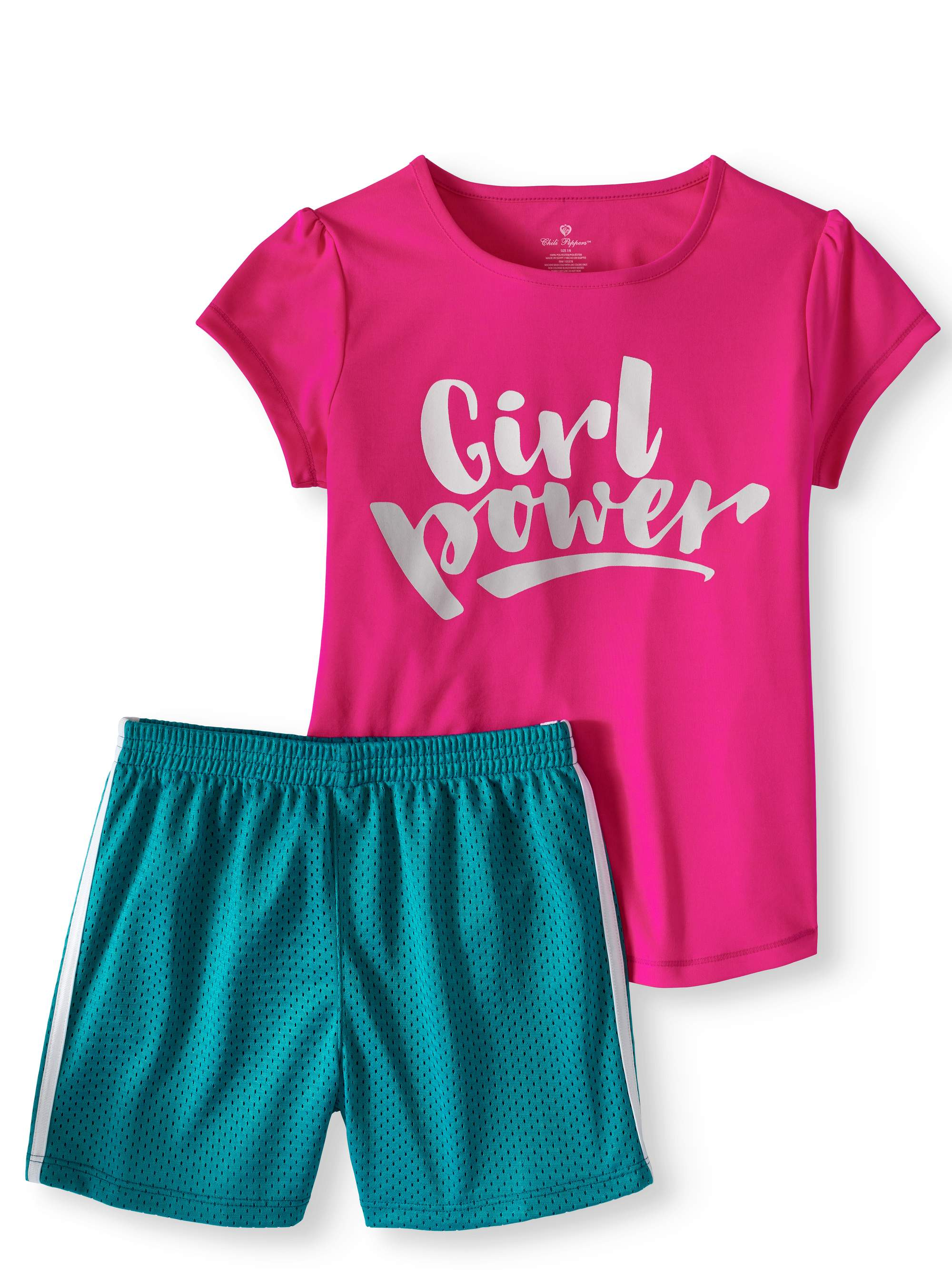 Girls' Graphic T-Shirt and Colorblock Mesh Shorts 2-Piece Active Set