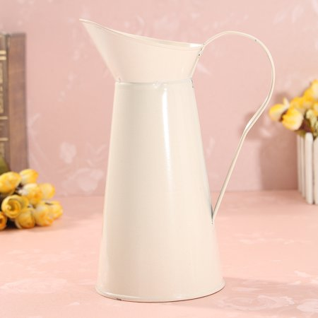 Vintage Shabby Chic Cream Vase Enamel Pitcher Jug Tall Metal Wedding Decor Valentine's Day Decoration