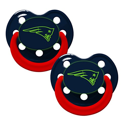 Baby Fanatic Pacifier - Glow In The Dark (2 Pack) - New England Patriots