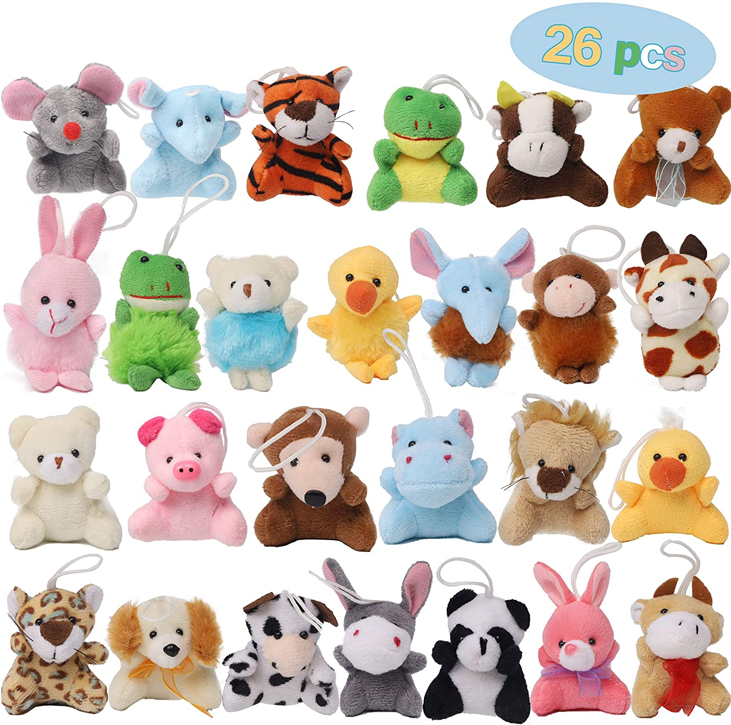 26 Pack Mini Animal Plush Toy Set Aitbay Cute Small Stuffed Animal Keychain Set Goodie Bag Fillers Carnival Prizes For Kids Assortment Kids Valentine Gift Easter Egg Filter Party Favors Walmart Com