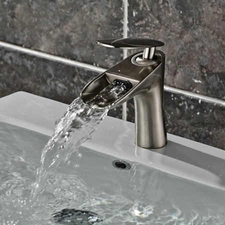 Be Brass Single-Hole Single Handle Deck-Mounted Waterfall Bathroom Sink Faucet, Brushed Nickel ()