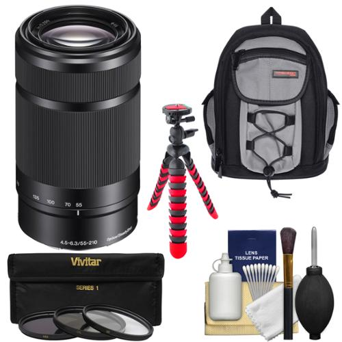 Sony Alpha E-Mount 55-210mm f/4.5-6.3 OSS Zoom Lens (Black) with Backpack + 3 Filters + Tripod Kit for A7, A7R, A7S, A3000, A5000, A5100, A6000 Camera
