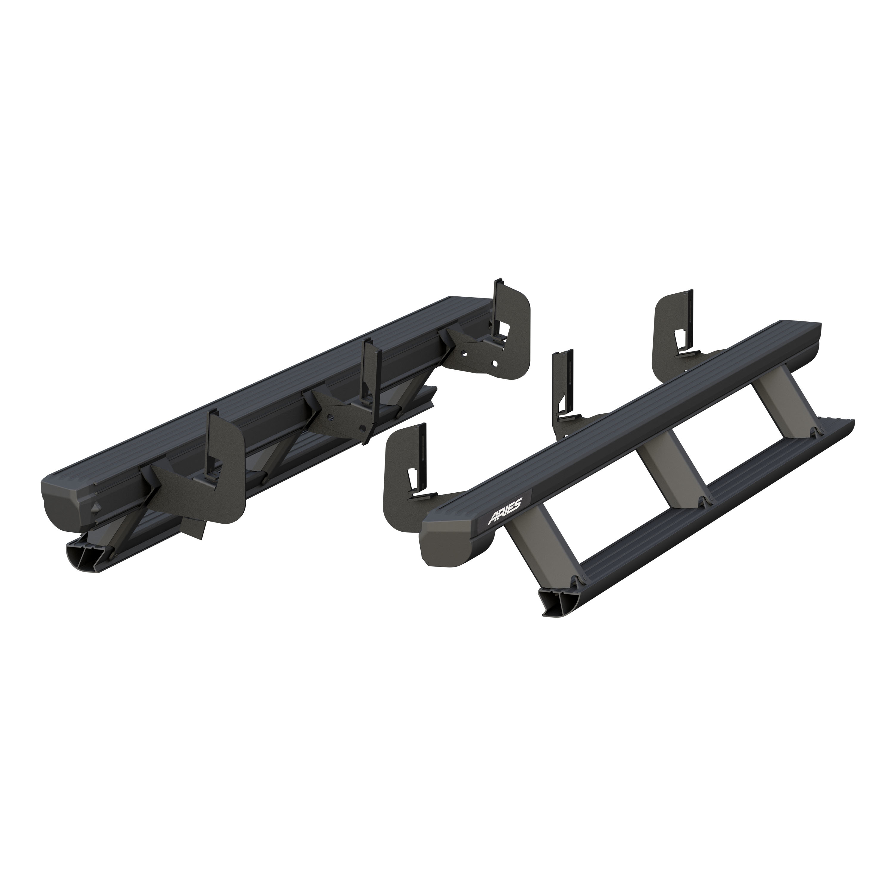 Aries Automotive 3047902 Actiontrac Powered Running Boards With Automated Patented Step-Within-A-Step - Black Powder-Coated Aluminum (1 Pair W/ Brackets)